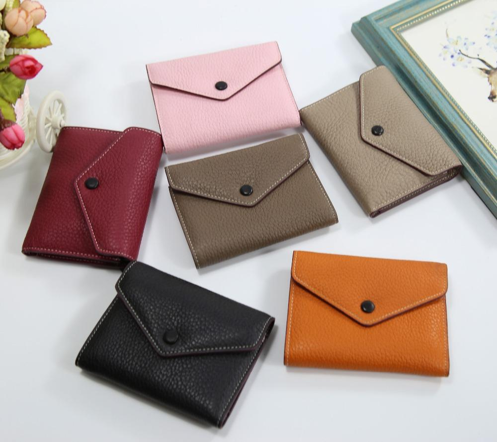 2017 New fashion women girls fashion short wallet genuine leather envelope card holder coin purse real leather clutches purse