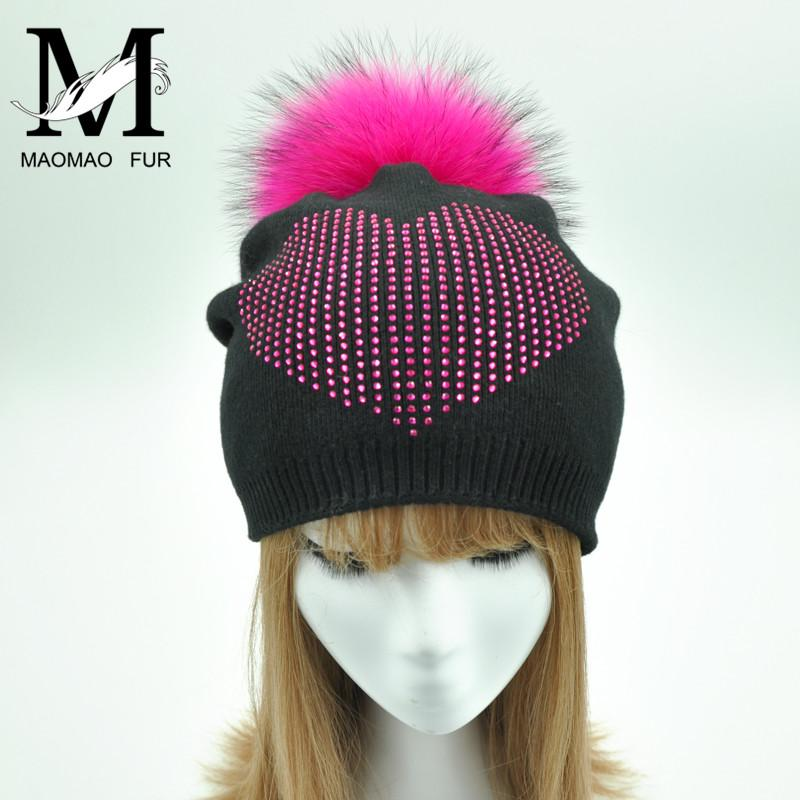 0bc95f355ad 2019 Real Fur Ball Cap Pom Poms Winter Hat For Women Girl  S Rhinestone Hat  Knitted Beanies Cap Brand New Thick Female Fur Hats From Qingfengxu