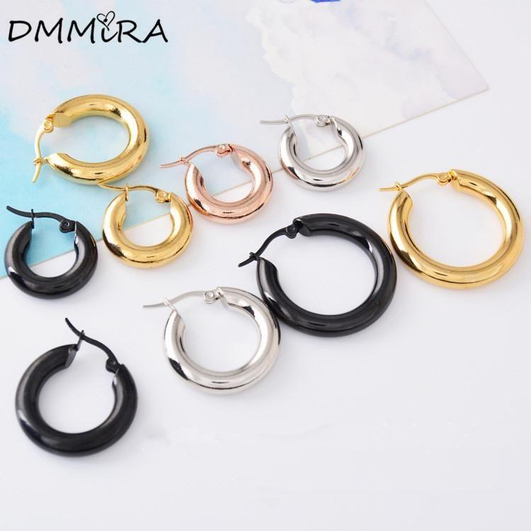 188bc120cfa2a Fashion Women Men Punk Loop Hoop Pendientes Silver Gold Black Stainless  Steel Round Circle 5mm Huggie Earrings Brincos Jewelry
