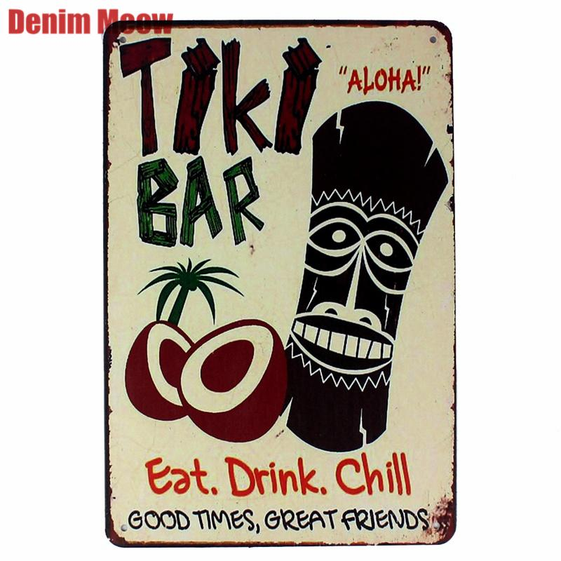 TIKI BAR Retro Plaque Metal Tin Signs Art Painting Decorative Plates for Bar Club Home Decor Wall Stickers Creative Gift N168