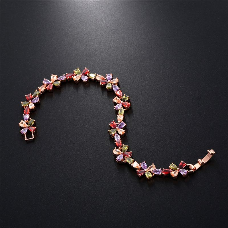 Swarovski elements colorful rose gold zircon copper bracelet anti-allergy sumptuous dinner link chain women girl top quality jewelry gift