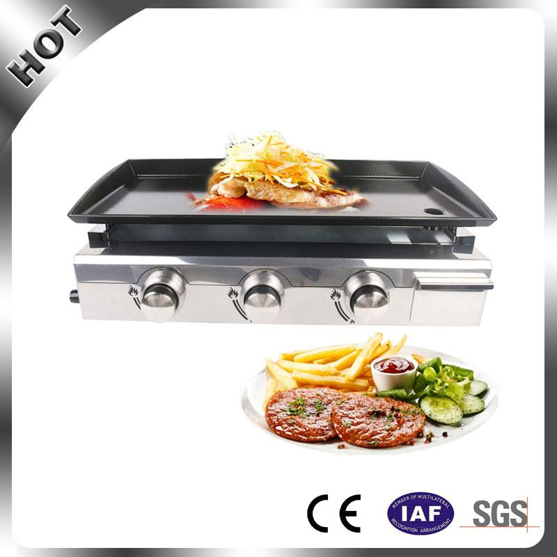 Wholesale-2017 New Arrival Gas Plancha BBQ 3 Burner LPG outdoor Grill Steel  Enameled cast iron Plate