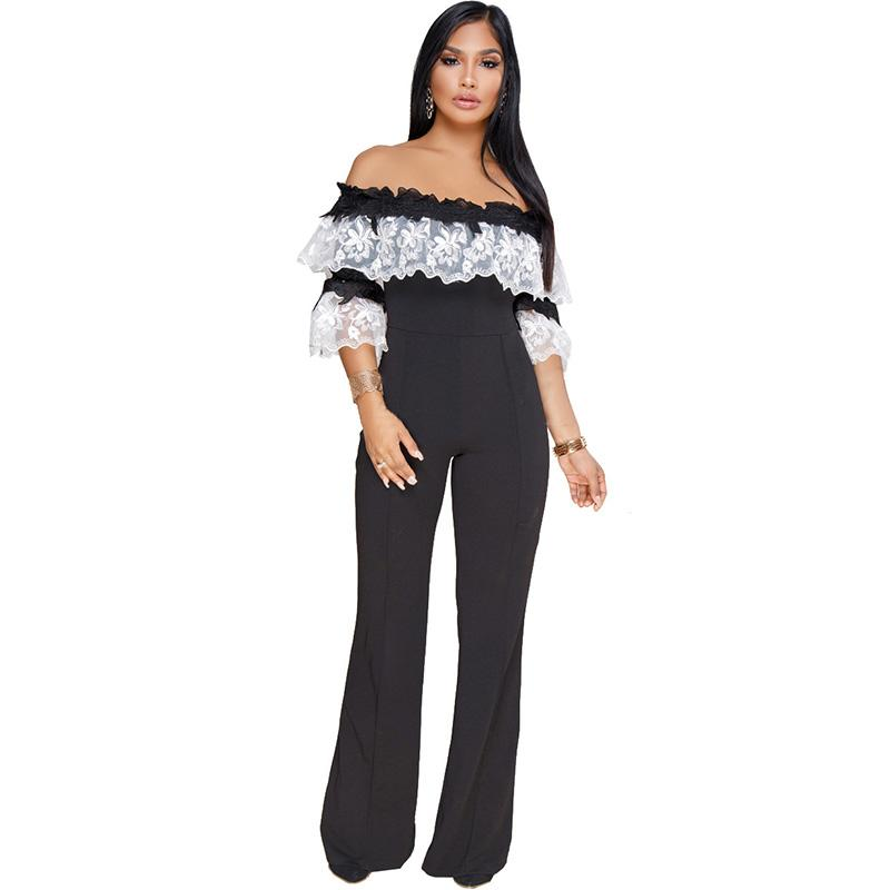 cbef872ccfb3 2019 MONNORQ Lace Embroidery Off Shoulder Loose Jumpsuits Plus Size Women  Sexy Slash Neck Flare Sleeve Wide Leg Pants Ladies Rompers From Boniee