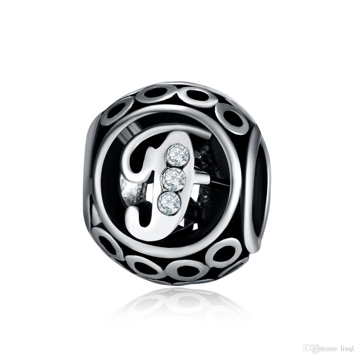 Authentic 2017 Carta Contas Fit Pandora Pulseiras Colares de Prata 925 Charme Original com Cubic Zirconia Para Jóias DIY Fazendo KKA1175