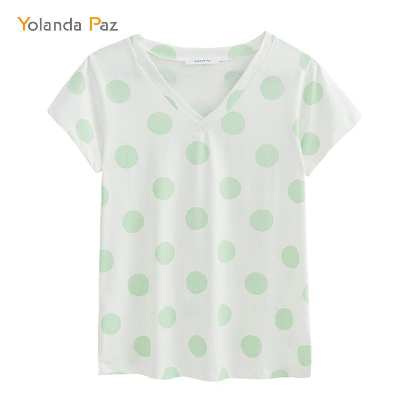 Yolanda Paz Fashion Polka Dot Print Women Summer T Shirts High Quality V  Neck Short Sleeve Brand Ladies T Shirt Casual Tops Tees Humorous Tee Shirts  Design ... a7549d8af