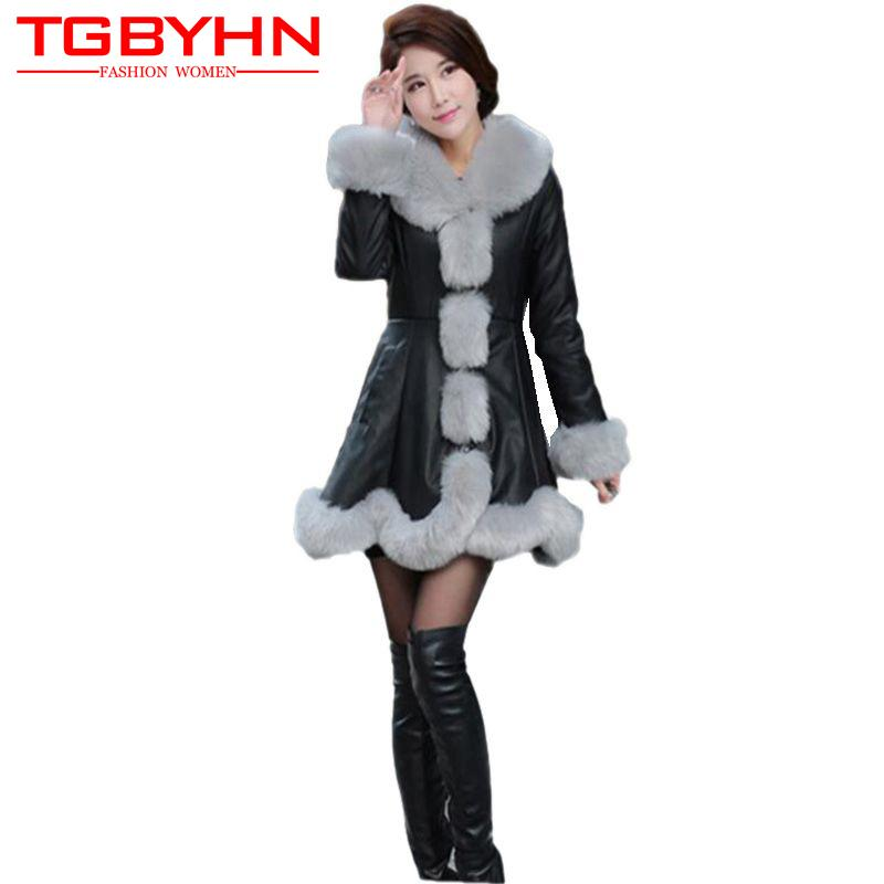 02d82b4e9 2018 New Winter Women Spliced Faux fur Coat Fashion All-match mink coat  High quality Slim Hot sale PU Leather Outerwear SQ081