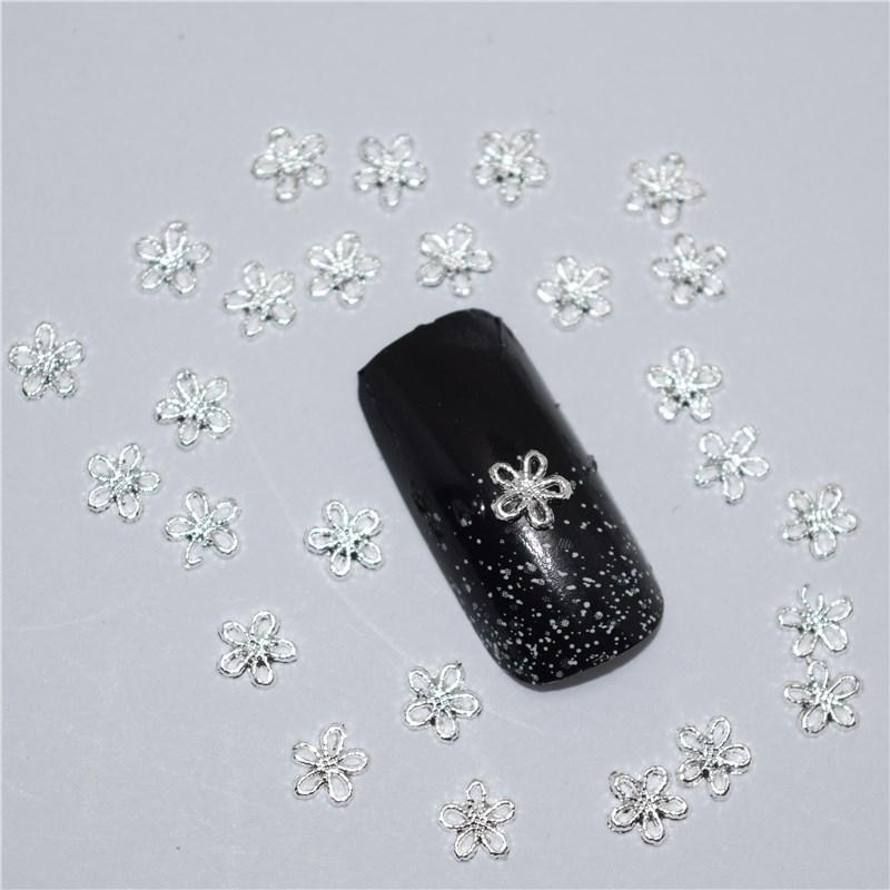 3d Nail Art Supplies Rhinestone Decoration Jewelry Silver Flower