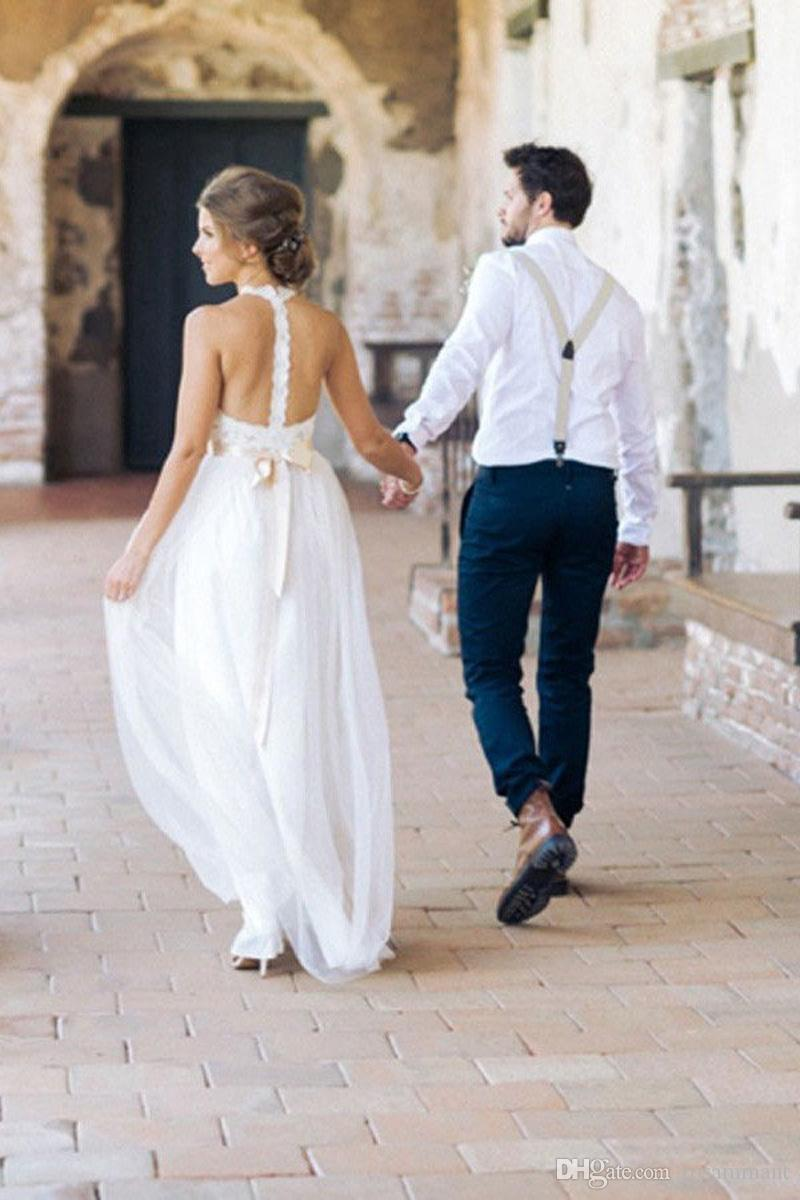 2019 Elegant Halter Appliques Lace Backless Beach Wedding Dresses Summer Bohemian Wedding Dress Vestido De Novia