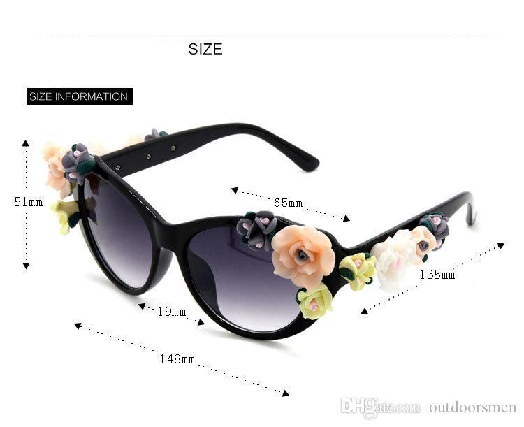 2017 Yeni Moda Barok Kadınlar Kız Çiçek Güneş Gözlüğü Retro Marka Seksi Taşlar Güneş Gözlüğü Yaz Plaj Gözlük ZM-12