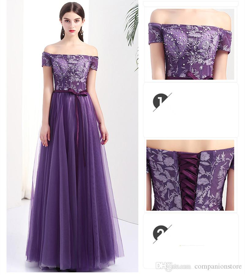 High Quality Purple Tulle Off The Shoulder A-Line Long Party Dress Backless Lace Up Appliques Beaded Sequined Floor Length Short Sleeve