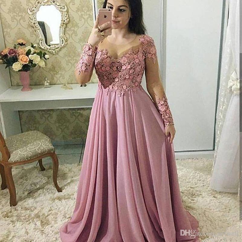 Designer Prom Dresses: 2018 Blush Pink Long Sleeve Prom Dresses With 3D Flora