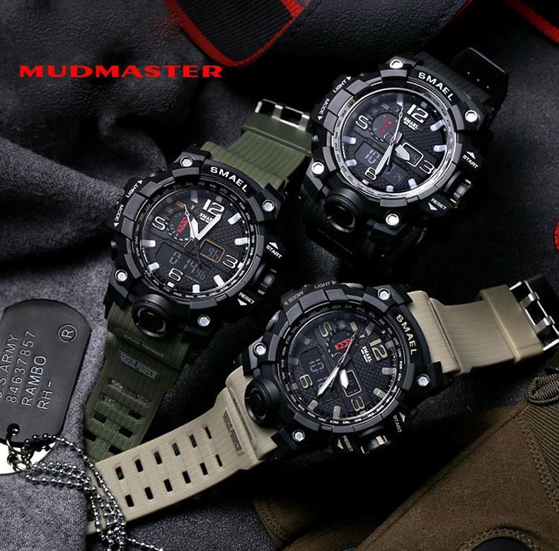 Smael marca men sports relógios dual display analógico digital led eletrônico relógios de pulso de quartzo à prova d 'água de natação militar relógio de pulso