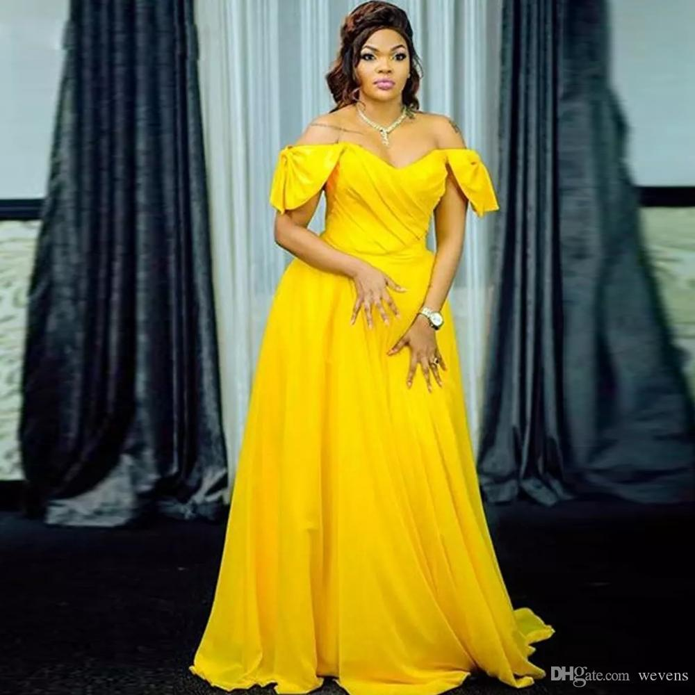 89b9215d17e Long Chiffon Yellow Prom Dresses High Neck Long Sleeve Abric Evening Gowns  Lace Appliques Beads Vestidos De Fiesta Dubai Evening Wear Plus Size Prom  Dresses ...