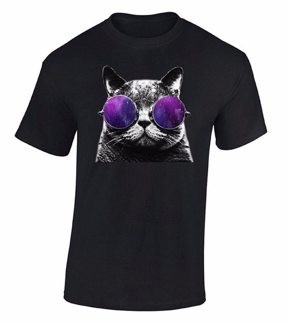 Compre Impresión En Camisetas De Manga Corta Hombres Regalo Cat Galaxy  Gafas Camiseta Astro Espacio Amor Animal Cósmico Mascota Camisa Camisas De  Cuello ... 0260e174875e4