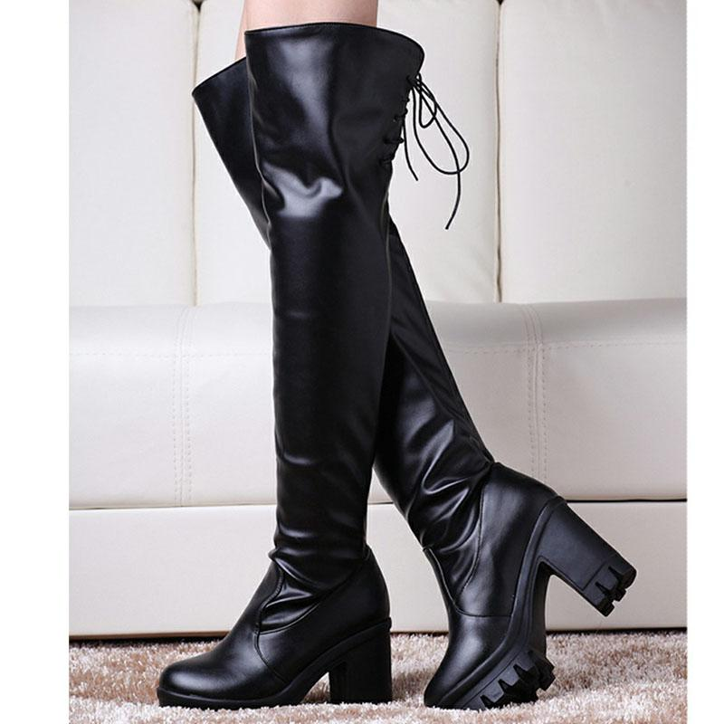 4ca5ebef4684 SARAIRIS 2018 Hot Sale Plus Size 33 43 Chunky Heels Over The Knee Boots Woman  Shoes Platform Add Fur Shoes Woman Boots Fashion Shoes Winter Shoes From ...
