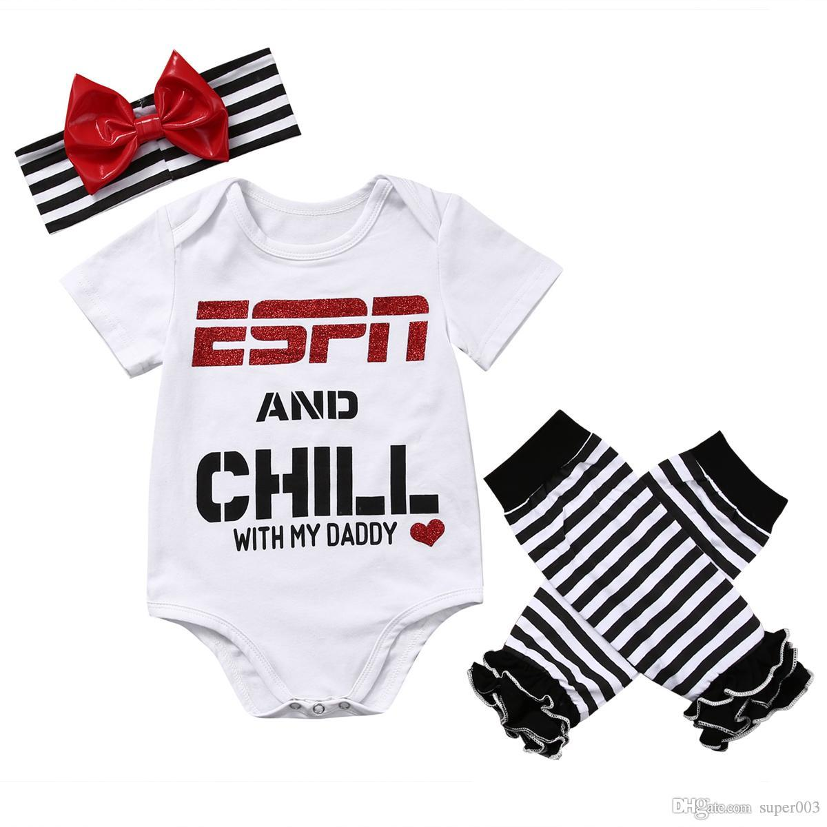 2ec90e25915f Newborn Baby Girls Clothing Set ESPN And Chill with My Daddy Romper Jumpsuit  Leg Warmers Headband Outfit Online with  4.87 Set on Super003 s Store