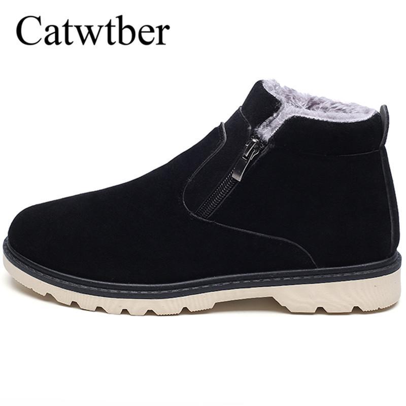Moda Piel Botas Trabajo Invierno Con Catwtber Nieve Hombre Caliente De Calzado Tobillo Zapatos Nuevos Hombres Goma droexQCBW