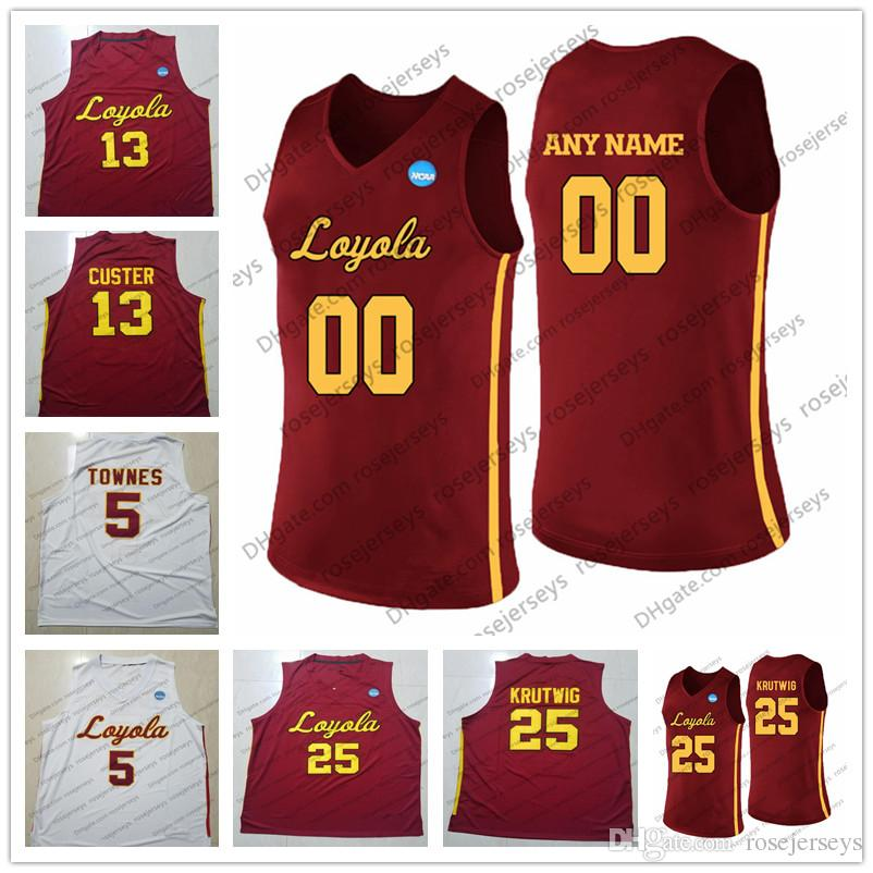 new style ea0ed ec3bd Custom Loyola Chicago Ramblers College Basketball white Red Stitched Any  Name Number #13 Clayton Custer 25 Cameron Krutwig NCAA Jersey S-4XL