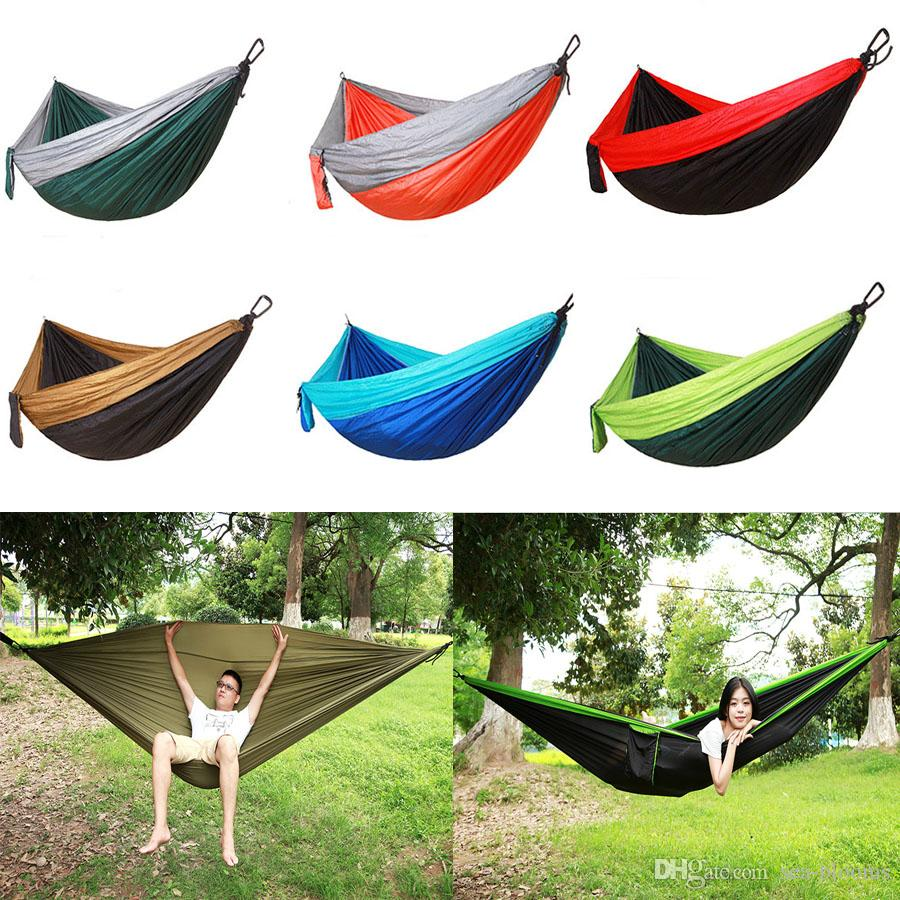 Camping Single Hammock Double Hammock Best Quality Gear Outdoor Backpacking Survival Or Travel Portable Lightweight Parachute Free DHL G673F