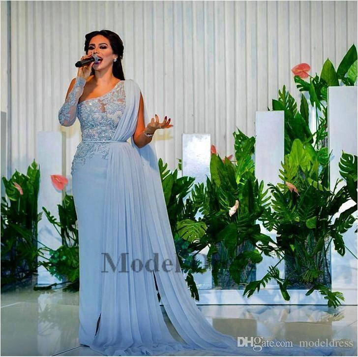 93ff74318 Compre Vestidos De Noche Árabes De La Envoltura Azul Cielo 2018 Apliques De  Lentejuelas Con Cuentas De Encaje De Un Hombro Con Vestidos De Fiesta De ...