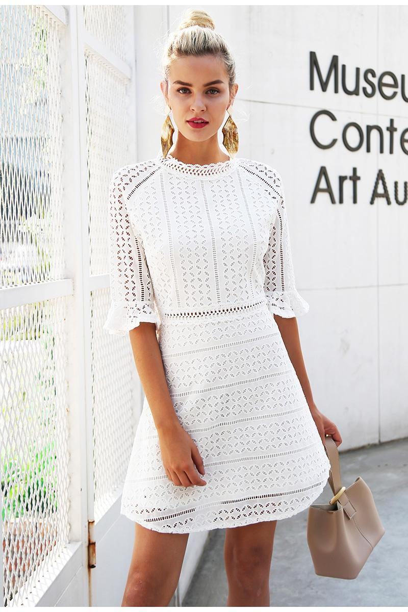 Summer Flower White Lace Dress Mesh Hollow Out Sexy Mini Dress Women Tulle Gauz Beach Dress Vestidos Women's Clothing