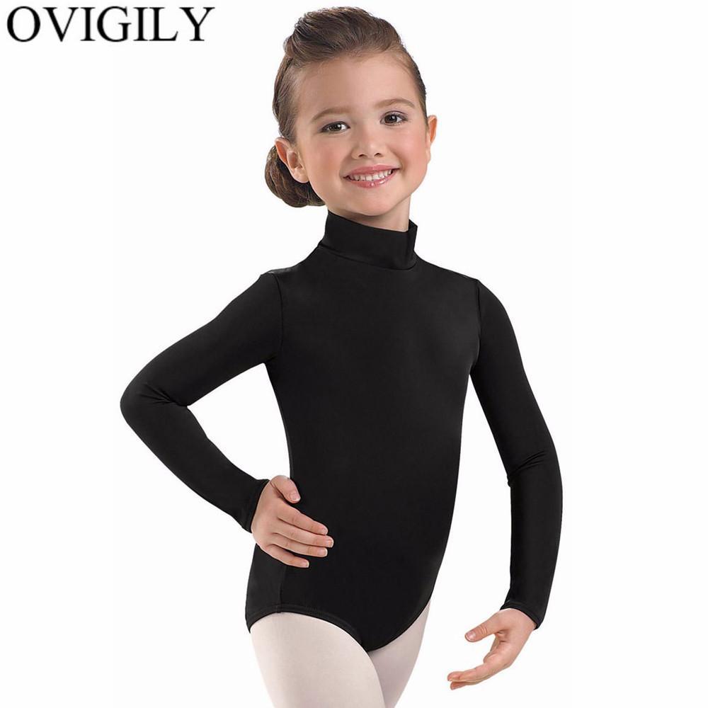 f54e9eaae933 2019 OVIGILY Kids Black Long Sleeve Ballet Leotards For Girls Gymnastics  Lycra Spandex Turtleneck Dance Leotard Bodysuits Team Basics From Dalivid,  ...