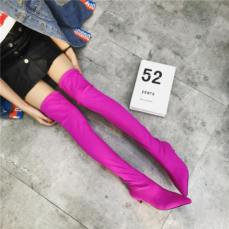 1cc4cf5cc Superstar Style Solid Color Stretch Socks Long Boots Women Cat Heels Over  The Knee Booties European Thigh High Slim Bota Black Ankle Boots Wedge  Shoes From ...