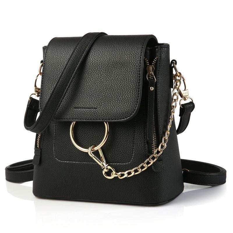d93ef4e45eb2 Chain Ring Backpack Fashion Women Shoulder Bag Girl Totes Bags Sweet  Handbags PU Leather Fashion Ladies Bag Travel Backpacks Running Backpack  Osprey ...