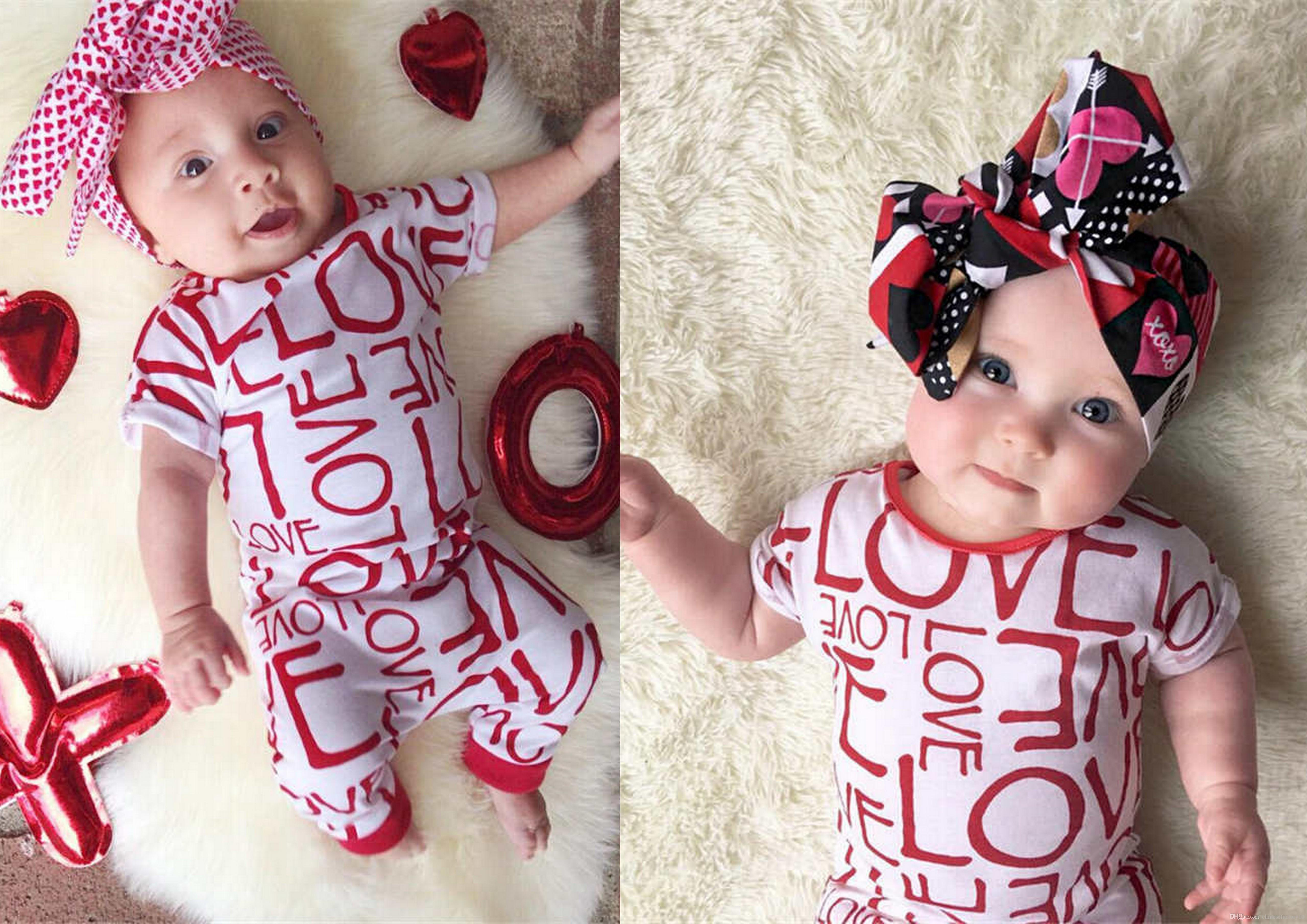 d1f9e2994bb INS Baby Girls Valentines Day Summer Love Romper Kids Short Sleeve Letter Printed  Onesies Baby Girls Cute Jumpsuits Baby Summer Romper Baby Girl Summer ...