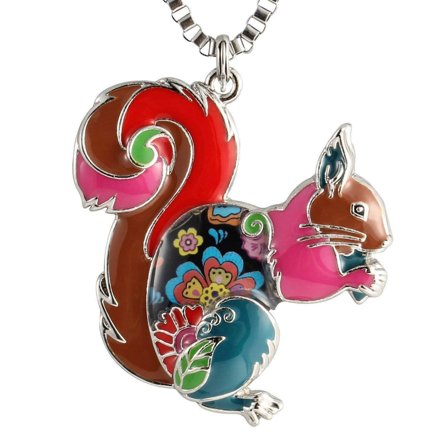 Wholesale Unique Squirrel Pendant Necklace For Women Birthday Gifts Enamel Animal Jewelry Horse Cute Necklaces From Zhengsu