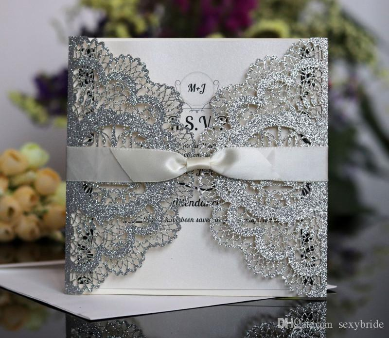 Vintage Wedding Envelope Invitations Ribbon 2019 8 Colours Cards Designs Hollow Card Designing Fca2107