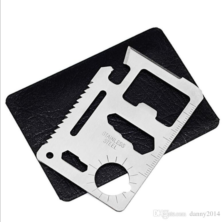 New Multi Pocket Credit Card Tools 11 in 1 Multifunction card knife Outdoor Hunting Survival Camping Pocket army Credit Card Knifes wallet