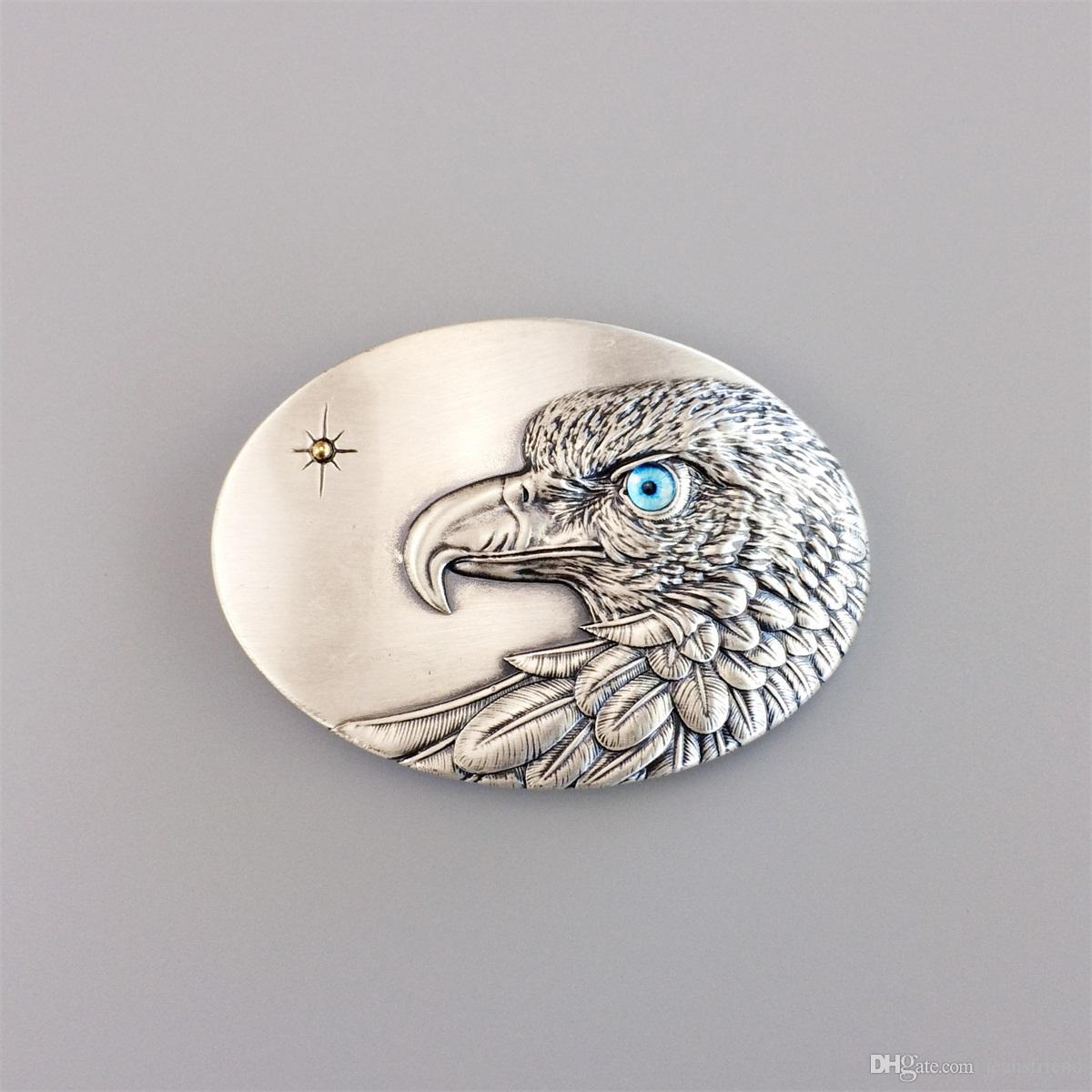 Men Belt Buckle Original Vintage Silver Plated Oval Sun Eagle Blue Eye Belt Buckle Gurtelschnalle Boucle de ceinture BUCKLE-WT149SL-BL