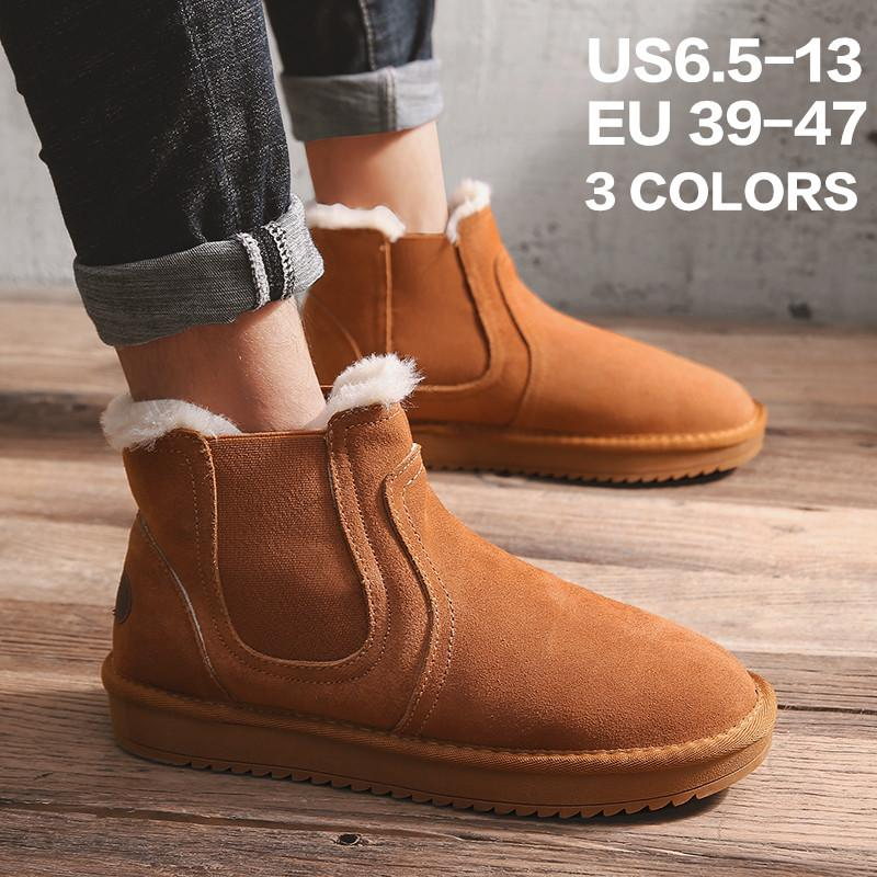 69e8dc6e0f9a Clearance Sale! Mens Snow Boots Winter Anti Slip Ankle Bootie Outdoor  Slippers Slip On Warm Fur Lined Slip On House Shoes Winter Indoor Outd  Black Boots For ...