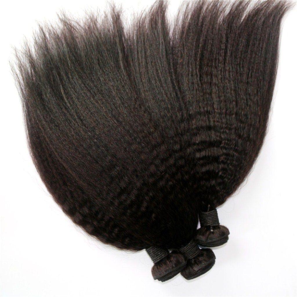 Kinky Straight 10-24inch 3 or Brazilian Human Virgin Hair Weave Natural Color Malaysian Indian Peruvian Human Hair Extension