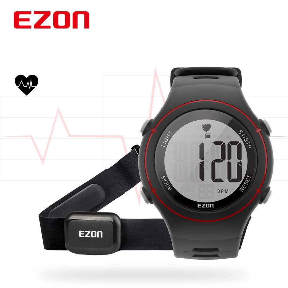 9a16dc8b7bd1 Compre Nuevo EZON T037 Hombres Mujeres Deportes Reloj De Pulsera Monitor De  Frecuencia Cardíaca Digital Correr Al Aire Libre Reloj Alarma Cronógrafo  Con ...