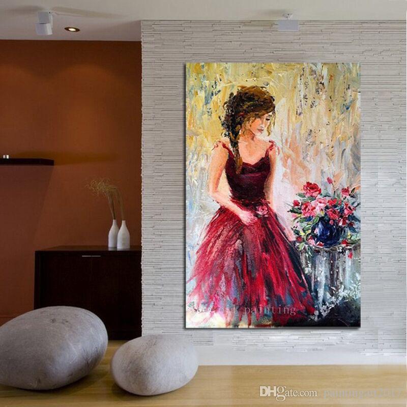 Dipinto a mano Modern Wall Art Coltello Pittura ad olio Donna Romantica Figura Red Roses Impressionista Canvas Home Decor