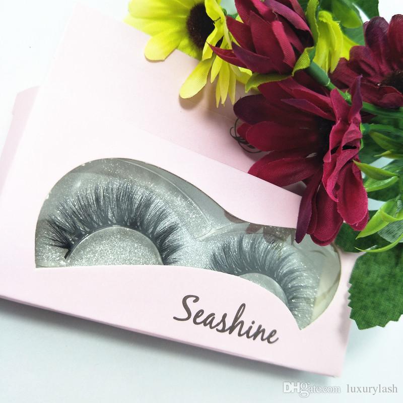 2018 Seashine 3D Handmade Grosso Vison Cílios Naturais Cílios Postiços para Maquiagem Beleza falso Eye Lashes Extensão frete grátis