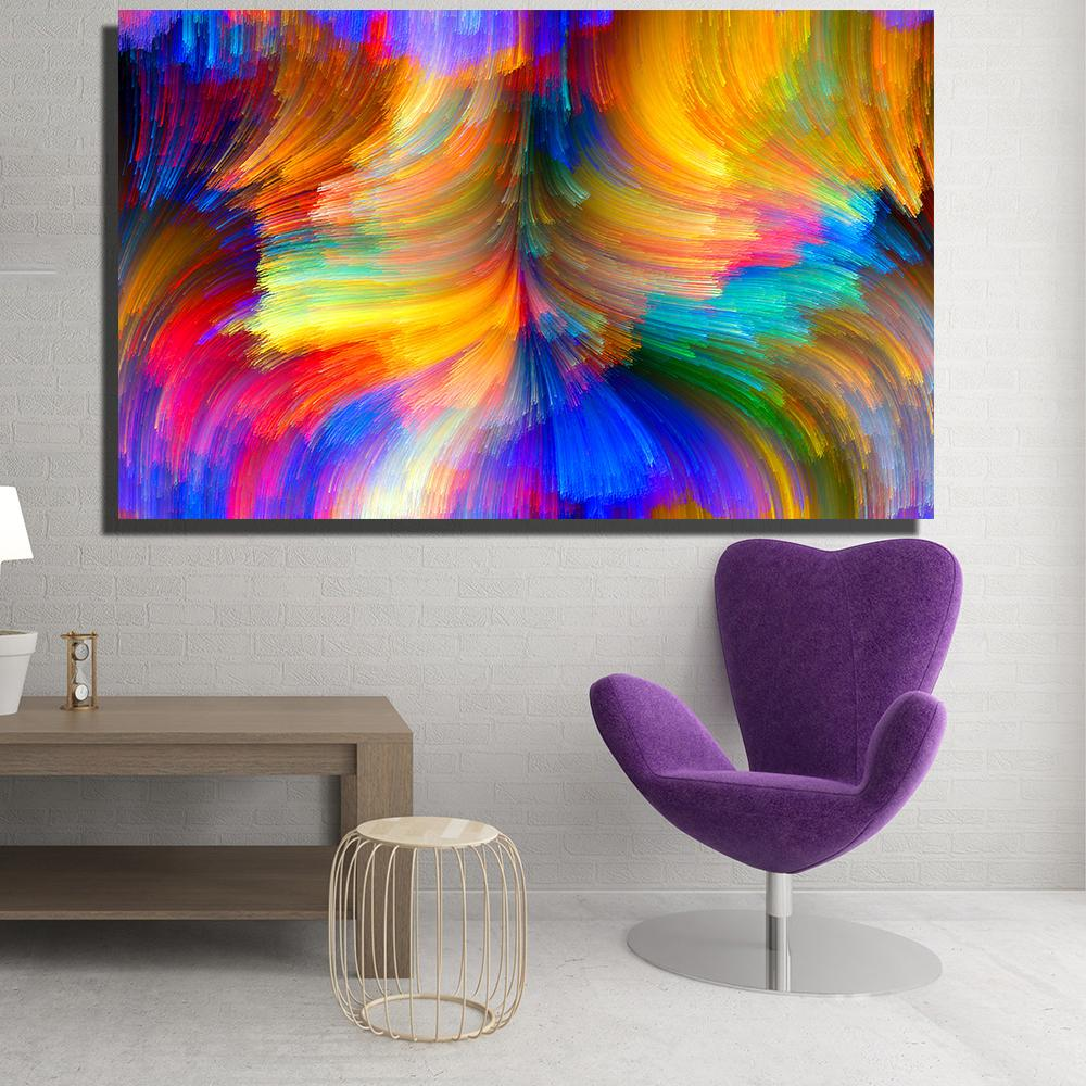 Modern Canvas Prints Oil Painting Abstract Abstract Bright Color Curves  Wide Wall Art no Framed Home Decor