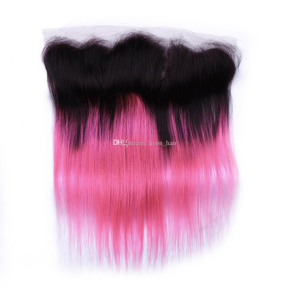 다크 뿌리 1B 핑크 머리는 정면 13x4 옹 브르 컬러 핑크 실키 스트레이트 헤어 확장으로 정면 4 개 많은 되죠을 3bundles