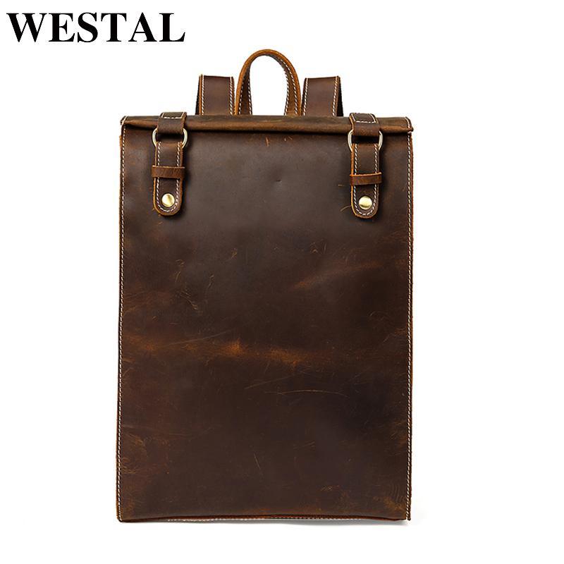 442debbc531c WESTAL Laptop Backpack Crazy Horse Leather School Bag Backpack for ...