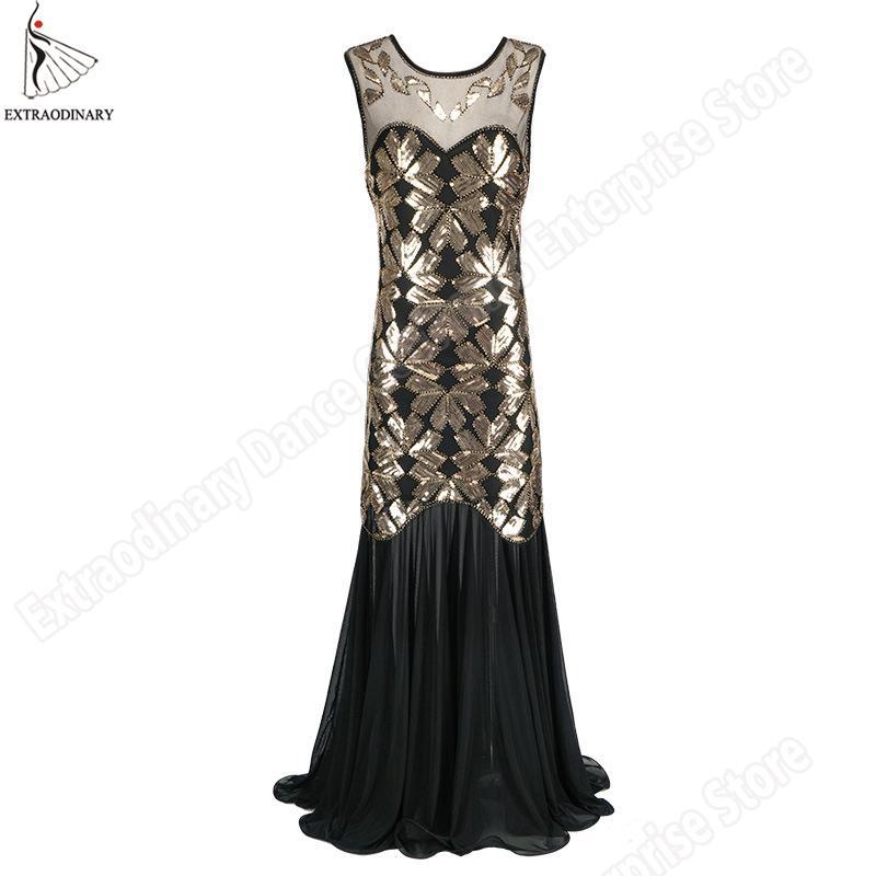 ae50a82aef75 Acquista Nuove Donne 1920 Flapper Abiti Vintage Grande Gatsby Sequin  Perline Party Dress Art Deco Doppio Costume Sexy Senza Maniche A  47.45 Dal  Meizuang ...