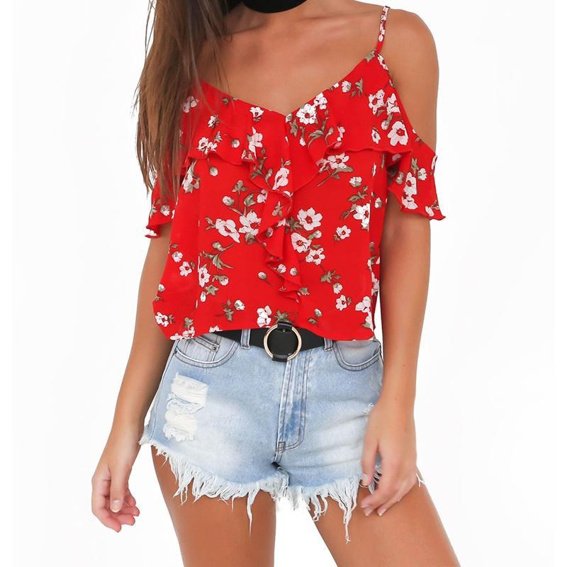 5799afbff8 2019 EFINNY Women Ruffles Camisole Floral Print Sexy V Neck Chiffon Tops  Summer Beach Boho Camis Tops From Burtom