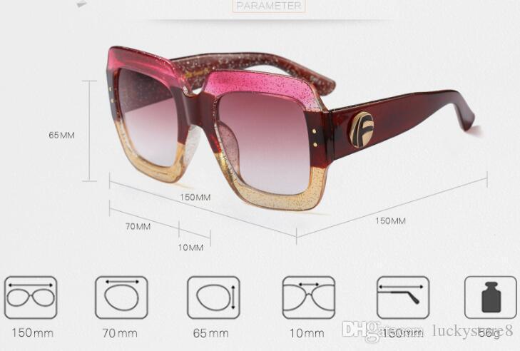 2018 Gafas de sol cuadradas de lujo Mujer Italia Diseñador de la marca Diamante Gafas de sol Mujer Pantalones Vintage de gran tamaño Gafas de mujer Gafas