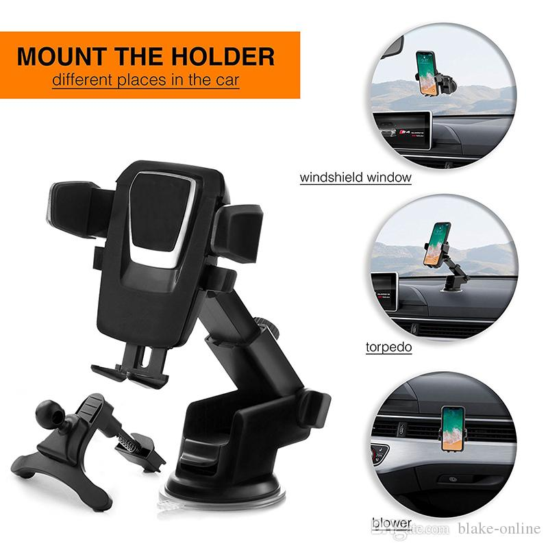 2 in 1 Universal Car Mobile Phone Air Vent Mount Holder + Windshield Stand With Long Arm Anti-skid Base for Iphone Samsung