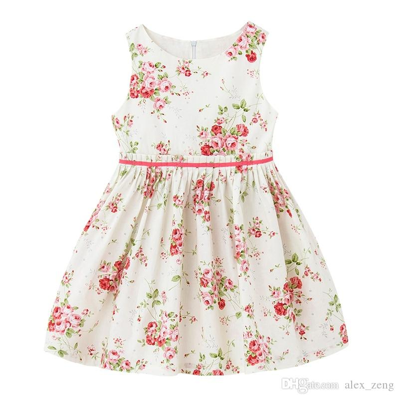 71d5a133bfb 2019 Girls Vintage Floral Toddler Dress Ruffles Sleeve Blue Pink Printed  Baby Girls Summer Cotton Dress Boutique Girls Clothes 1 12Y From Alex zeng