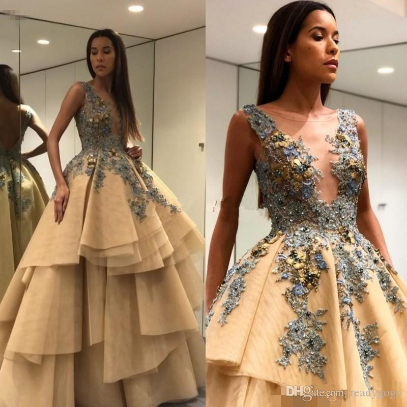 Champagne 3D Floral Applique Prom Pageant Dresses 2018 Sheer Plunging Jewel puffy Tiered Skirt dubai arabic Princess Evening Wear Party Gown