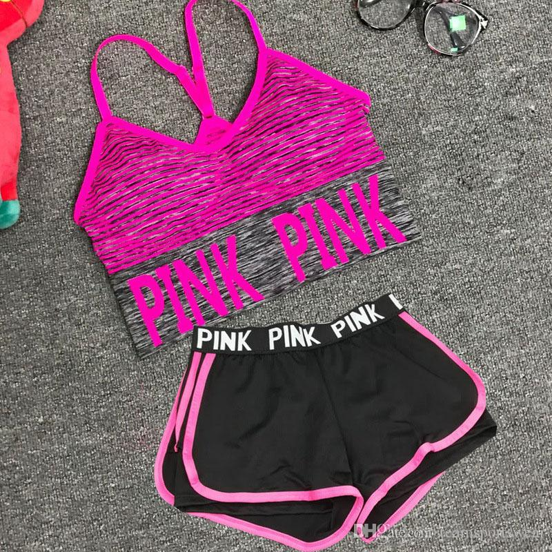 9a8f7785e0690 2019 Love Pink Sports Set Sport Bra Gym Fitness Short Pants PINK Letter  Underwear Exercise Vest Running Yoga Layered Shorts Push Up Bras Tops From  ...