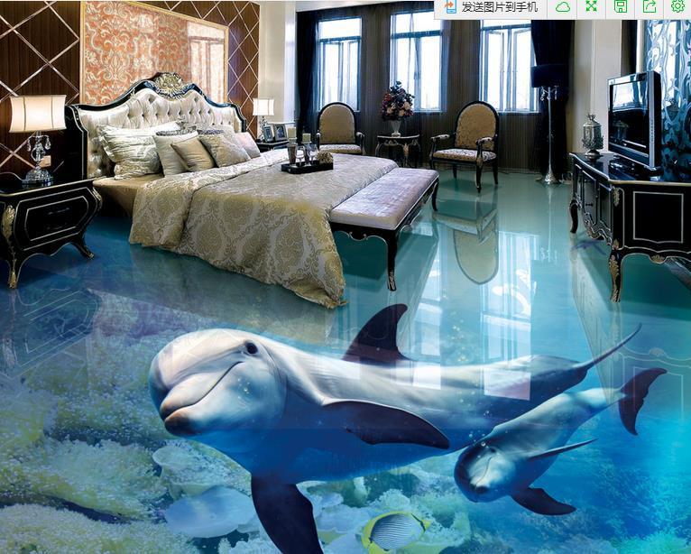 Acquista 3d pavimentazione sfondi delfino soggiorno decorazione 3d