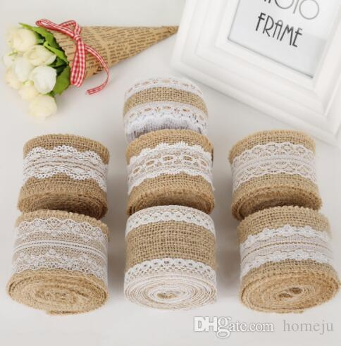 100 pcs/set 5cm Burlap Ribbon 2M Vintage Wedding Centerpieces Decoration Sisal Lace Trim Jute Hessian Rustic Event Party Cake Supplies